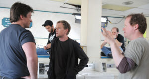 Joss Whedon directs a scene from 'Dr. Horrible' with Neil Patrick Harris and Nathan Fillion.