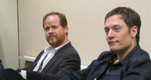 Joss Whedon and Tahmoh Penikett discuss 'Dollhouse' at New York Comic Con 2009. Photo by Kendall Whitehouse