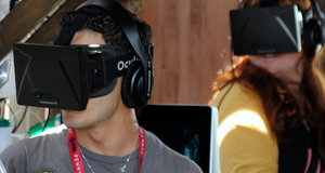 The Oculus Rift puts participants inside a virtual world.