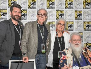 "Pictured are (from left to right): Charles Brownstein, Robert Williams, Joyce Farmer, and Ron Turner on the ""Outlaw Art: The Trials of Underground Comix"" panel."